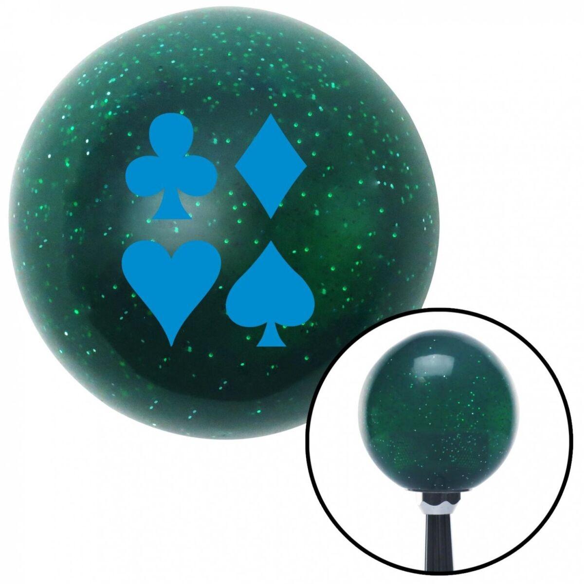 NewAlthlete Blue Card Symbols Green Metal Flake Shift Knob with M16 x 1.5 Insert Shifter Auto