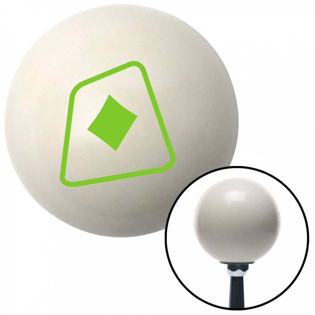 NewAlthlete Green Diamonds on a Card Ivory Shift Knob with M16 x 1.5 Insert Shifter Auto Manual