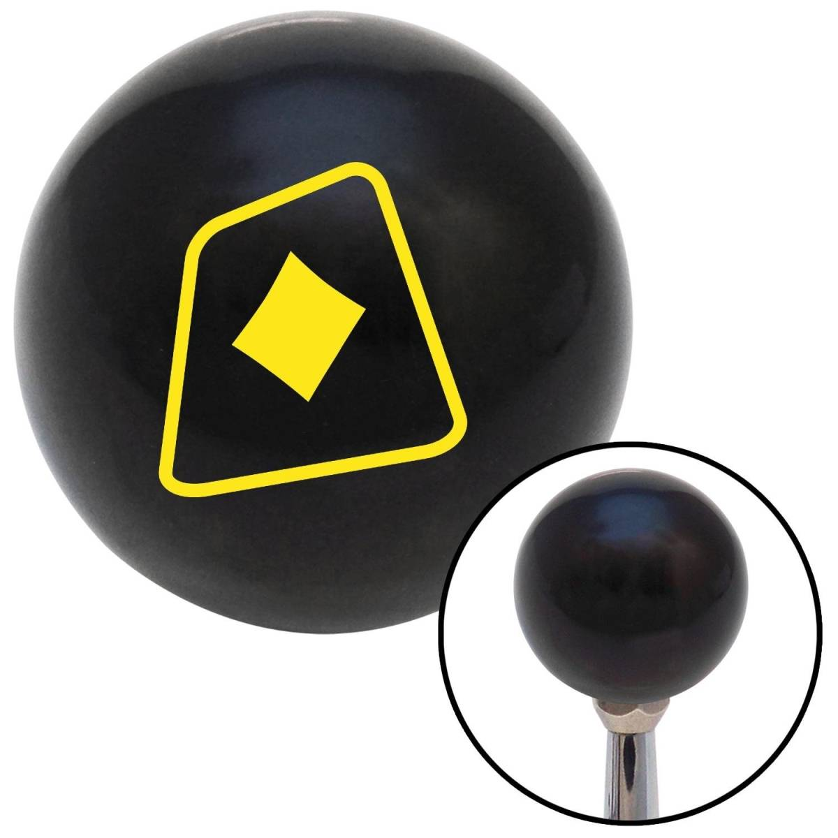 NewAlthlete Yellow Diamonds on a Card Black Shift Knob with M16 x 1.5 Insert Shifter Auto Brody