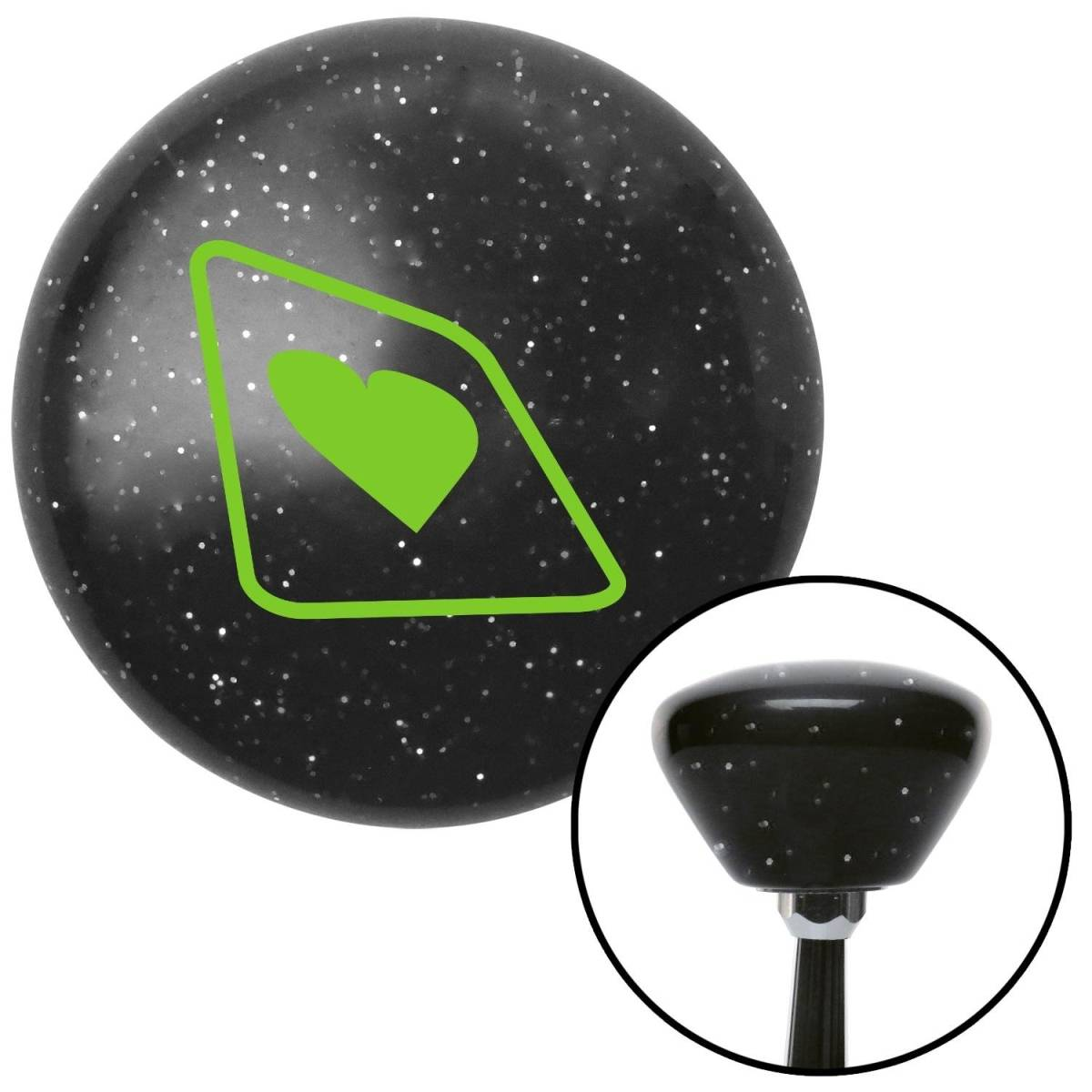 American Shifter Company American Shifter 169737 Green Heart on a Card Black Retro Metal Flake Shift Knob with M16 x 1.5 Insert Auto