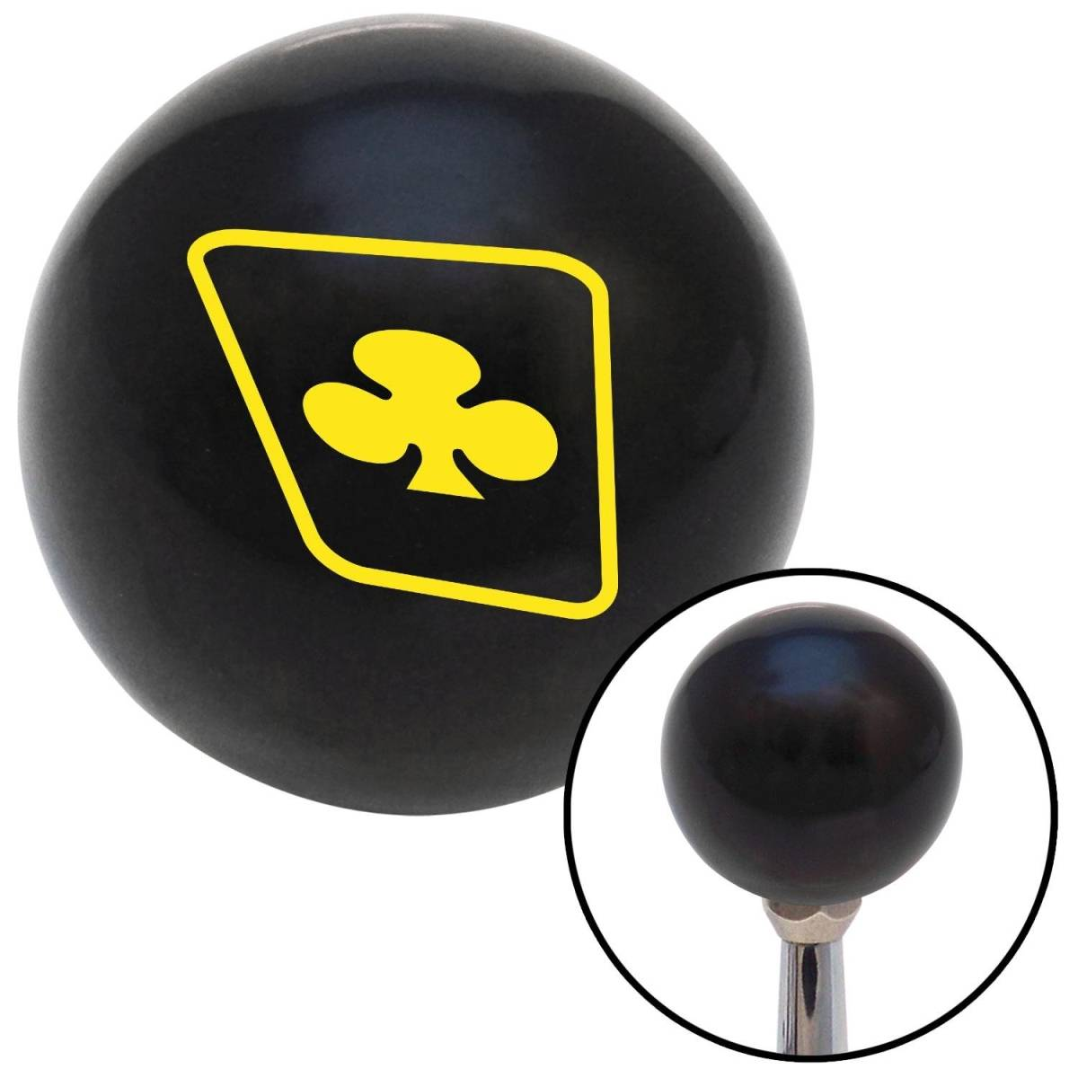 American Shifter Company American Shifter 104196 Yellow Clubs on a Card Black Shift Knob with M16 x 1.5 Insert Shifter Auto Manual