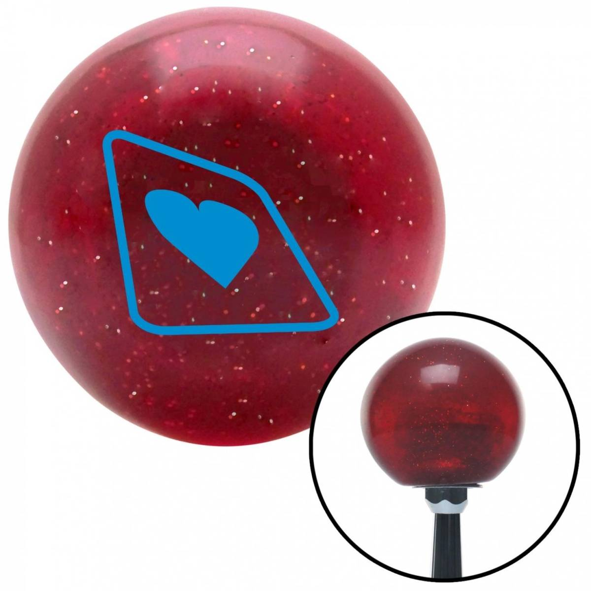 NewAlthlete Blue Heart on a Card Red Metal Flake Shift Knob with M16 x 1.5 Insert Shifter Auto