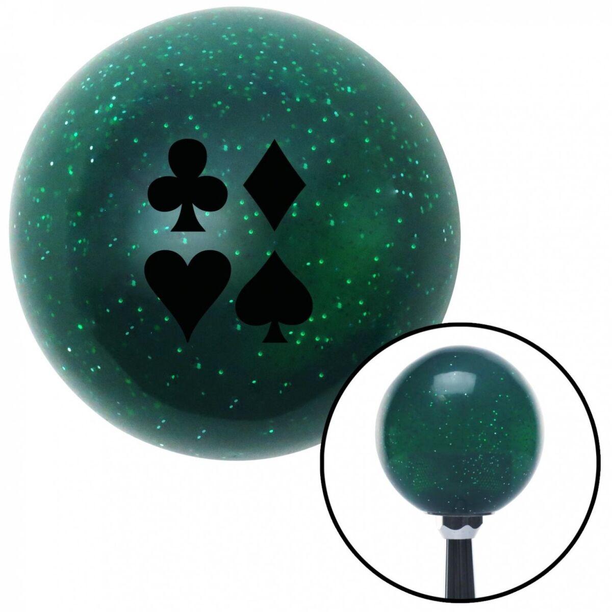 NewAlthlete Black Card Symbols Green Metal Flake Shift Knob with M16 x 1.5 Insert Shifter Auto
