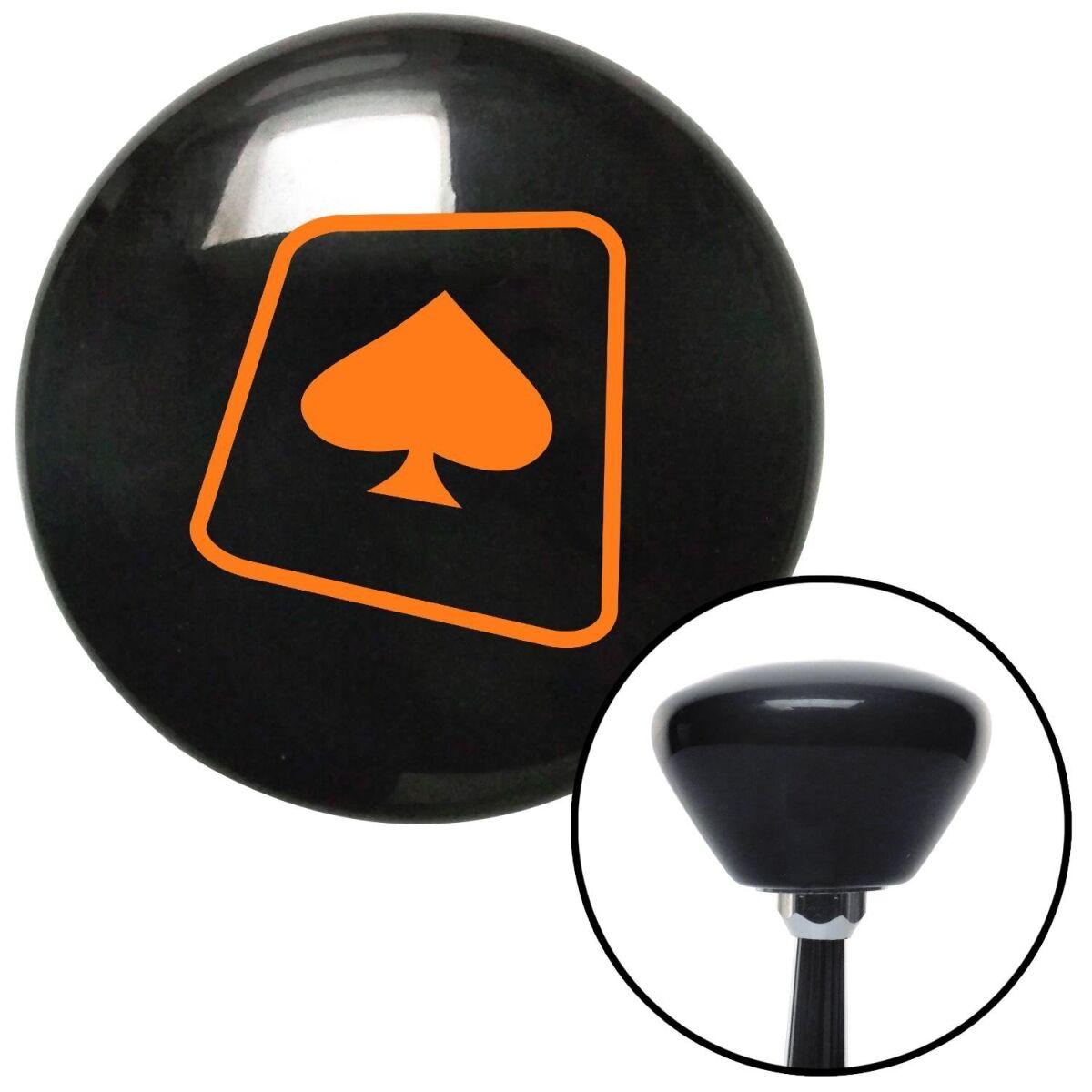 NewAlthlete Orange Spade on a Card Black Retro Shift Knob with M16 x 1.5 Insert Shifter Auto