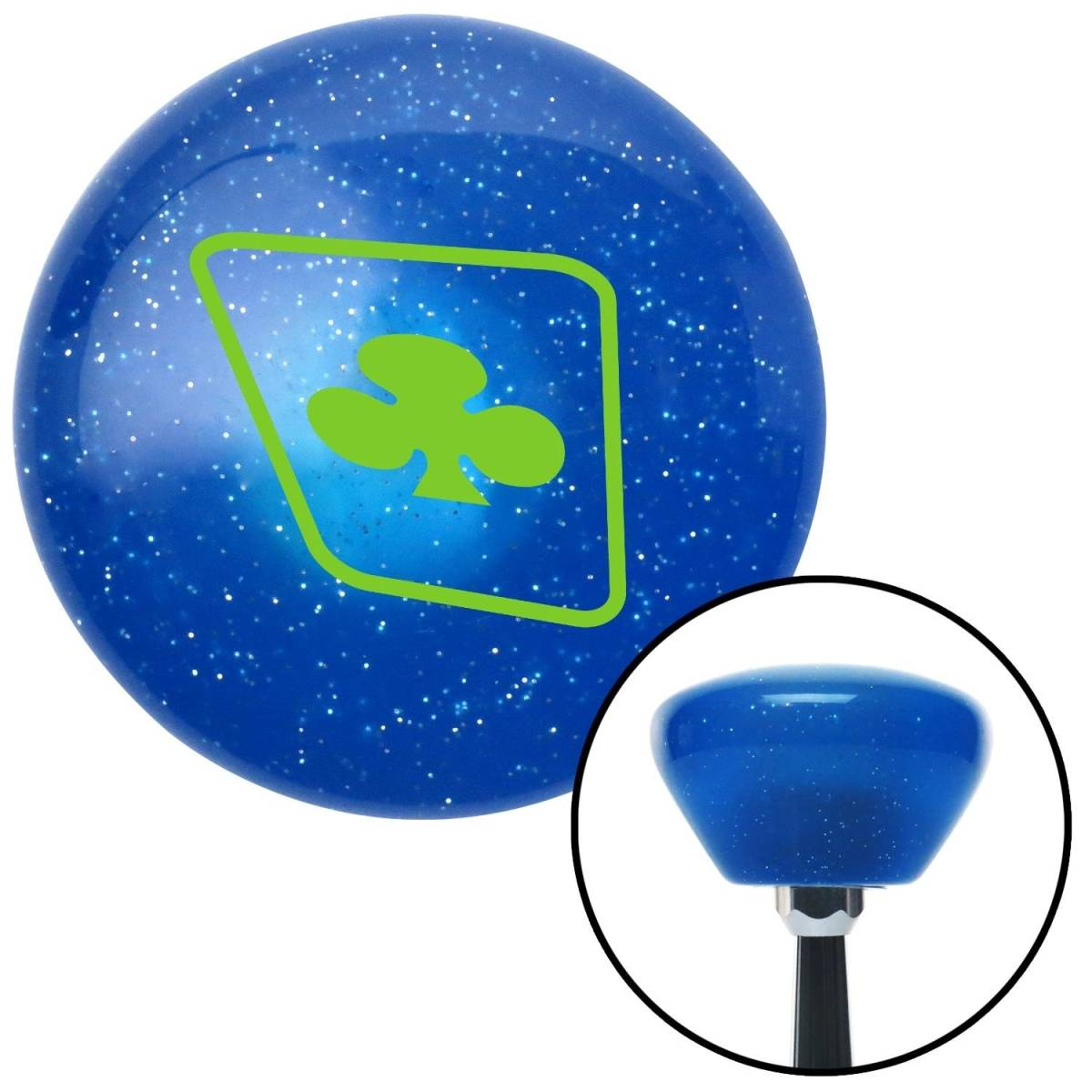 American Shifter Company American Shifter 185351 Green Clubs on a Card Blue Retro Metal Flake Shift Knob with M16 x 1.5 Insert Auto Brody