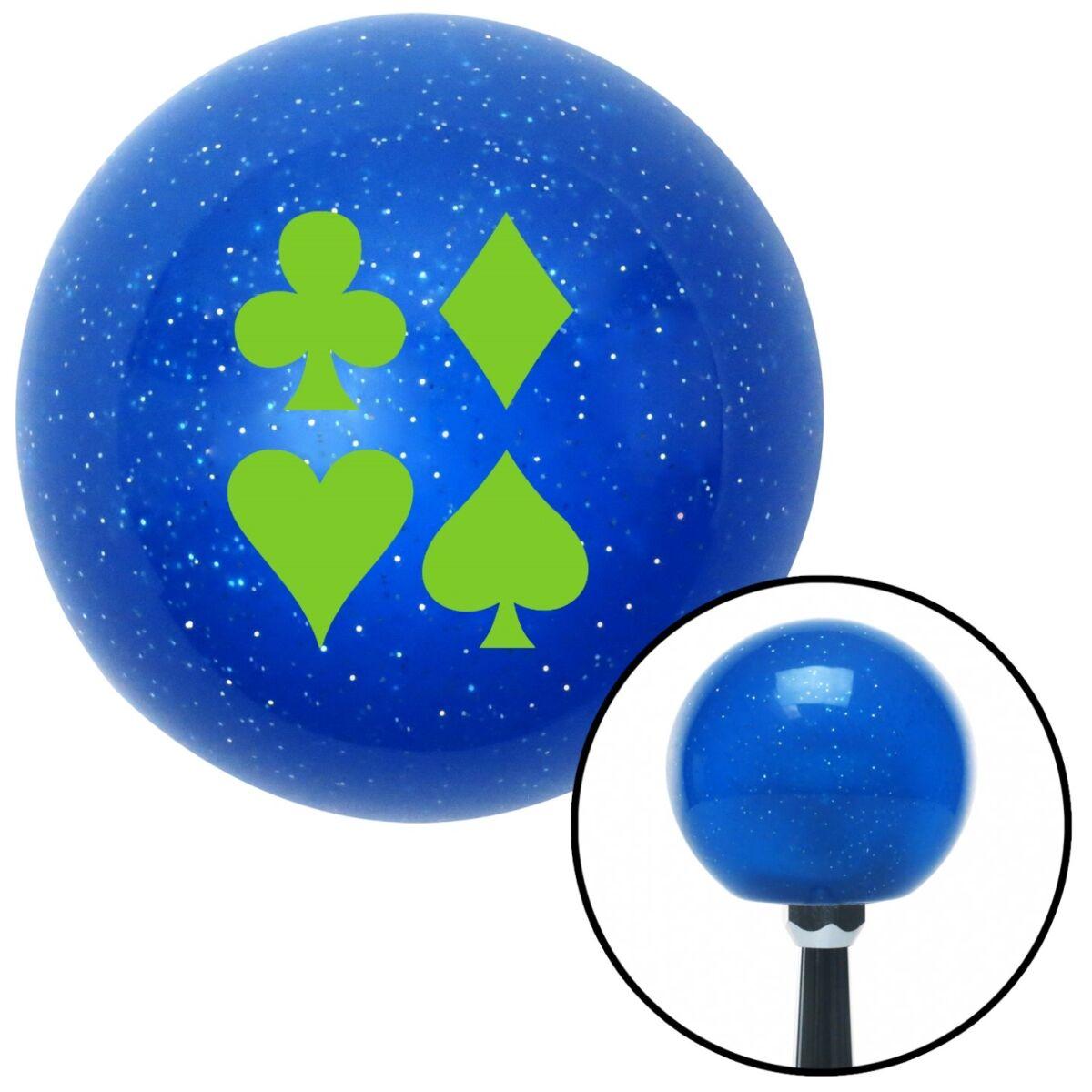 NewAlthlete Green Card Symbols Blue Metal Flake Shift Knob with M16 x 1.5 Insert Shifter Auto Brody