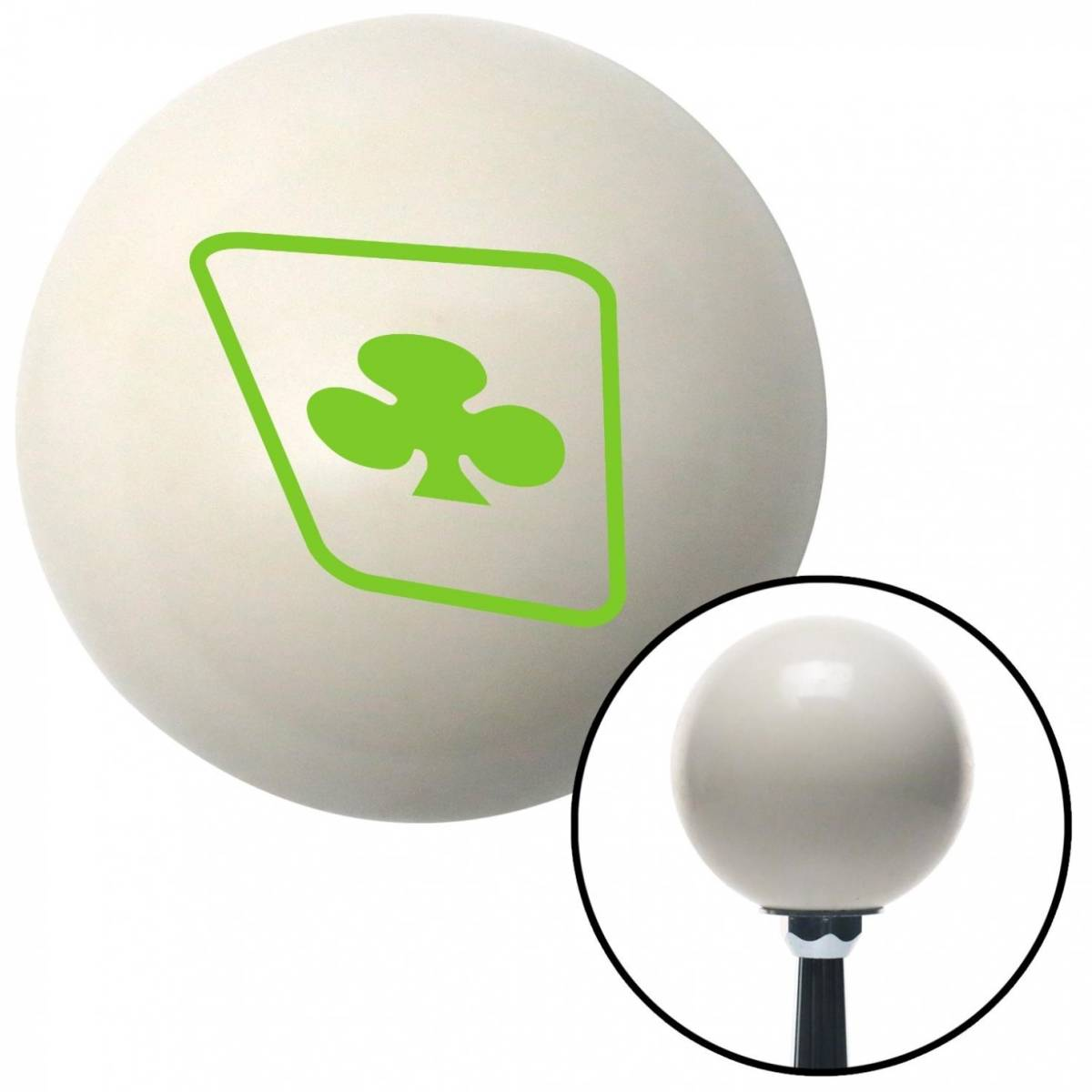 NewAlthlete Green Clubs on a Card Ivory Shift Knob with M16 x 1.5 Insert Shifter Auto Manual Brody