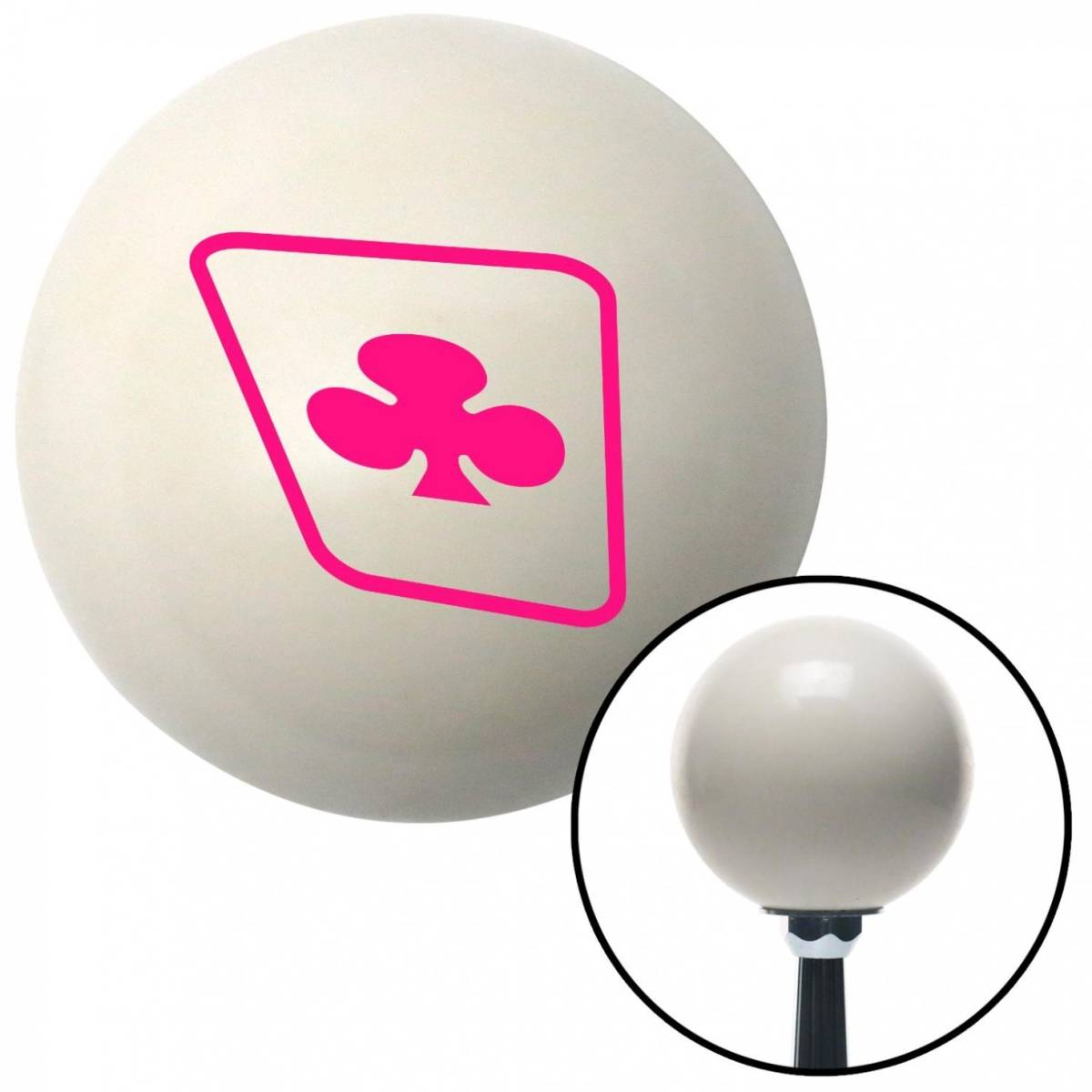 NewAlthlete Pink Clubs on a Card Ivory Shift Knob with M16 x 1.5 Insert Shifter Auto Manual Brody