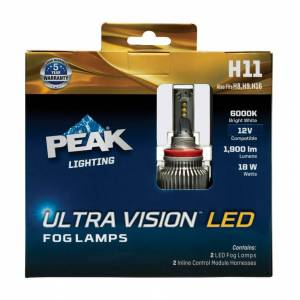 Peak 8020182 Ultra Vision 12 V LED Automotive Bulb - H11 - Pack of 2
