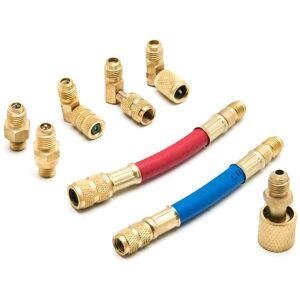 Biltek NPTC-CH138-1O A-C Manifold Gauge Adapter Set Durable Flexible 90 deg R-12, 8 Piece - Solid Brass