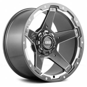 GRID WHEELS 417955G1 17 x 9.0 in. 5 x 150 in. Bolt Pattern 0 Offset 110.3 mm Hub Wheel, Gloss Graphite