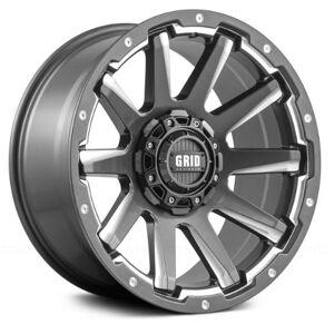 GRID WHEELS 518955G11 18 x 9.0 in. 5 x 150 in. Bolt Pattern 12 Offset 110.3 mm Hub Wheel, Gloss Graphite