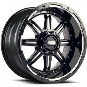 GRID WHEELS 118955M1 18 in. Dia. x 9 in. GD10 0 mm Offset, 5 x 150 mm Wheel with Milled Lip, Gloss Black