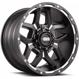 GRID WHEELS 717955F1 17 in. Dia. x 9 in. GD07 0 mm Offset, 5 x 150 mm Wheel with Milled Lip, Matte Black