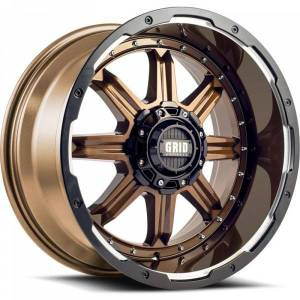 GRID WHEELS 118955R1 18 in. Dia. x 9 in. GD10 0 mm Offset, 5 x 150 mm Wheel with Black Lip, Gloss Bronze
