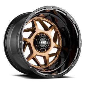 GRID WHEELS D2952R87 20 x 9 GD14 0 mm Offset 5 x 127 Gloss Bronze with Black Lip Wheel