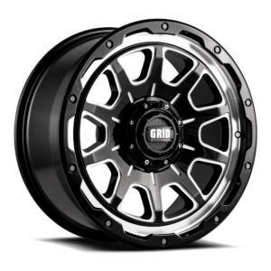 GRID WHEELS E2952M87 20 x 9 GD15 0 mm Offset 5 x 127 Gloss Black with Milled Wheel