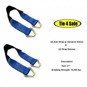 Tie 4 Safe RT41A-18M18-BL-C-12 2 x 18 in. Axle Straps with Abrasive Sleeve Plus Delta Ring, Black - 12 Piece