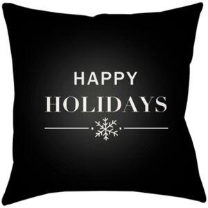 Surya PHDHH001-1616 Happy Holidays 16 x 16 x 4 in. Throw Pillow, Black - Medium