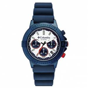 Columbia CSC03-006 10 in. Peak Patrol Chronograph Day Date Navy Silicone Watch for Men, White