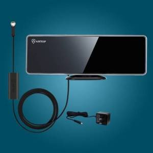 ANTOP ANTENNA AT-202B Flat-Panel AT-202B Indoor HDTV Antenna with Smartpass Amplifier & Built-in 4G LTE Filter