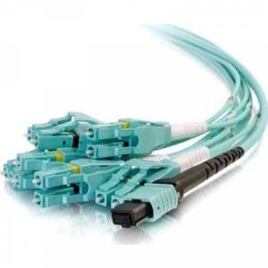 C2G 31329 2 m Mpo to 6 Duplex LC Fiber Breakout Cable OM4 Riser Rated, Breakout 12