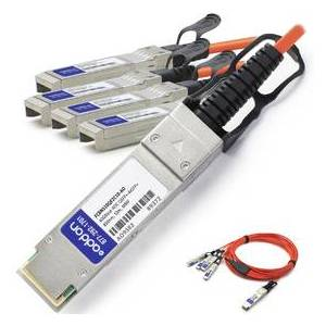ADD-ON FCBN510QE2C10-AO 40 GB TAA Compliant AOC QSFP Plus to 4XSFP Plus Active Optical Cable for Finisar Compatible - 32.8 ft.