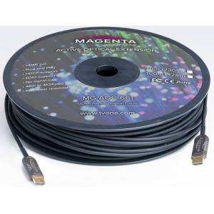 Magenta Research MGE-MG-AOC662-60 60m HDMI 2.0 Active Optical Plenum Cable, Black