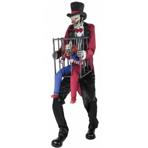Morris Costumes MR124652 Rotten Ringmaster with Caged Clown Halloween Decoration