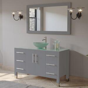 Cambridge Plumbing 8116B-G-BN 48 in. Complete Vanity Set with Brushed Nickel Plumbing, Grey
