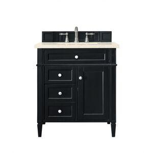 James Martin Furniture 650-V30-BKO-3EMR 30 in. Brittany Single Vanity with 3 CM Eternal Marfil Quartz Top, Black Onyx