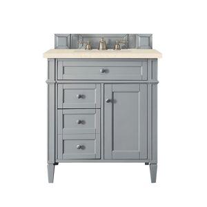 James Martin Furniture 650-V30-UGR-3EMR 30 in. Brittany Single Vanity with 3 CM Eternal Marfil Quartz Top, Urban Gray