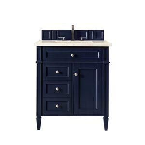 James Martin Furniture 650-V30-VBL-3EMR 30 in. Brittany Single Vanity with 3 CM Eternal Marfil Quartz Top, Victory Blue