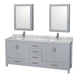 Convenience Concepts 80 in. Sheffield Double Bathroom Vanity in Gray with No Countertop, No Sink & 70 in. Mirror