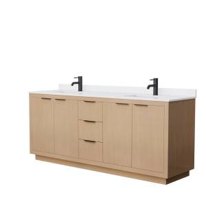 Wyndham Collection 80 in. Maroni Double Bathroom Vanity with Light Straw, White Cultured Marble Countertop - Undermount Square Sink in Matte Black Trim