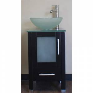 8137B 18 in. Solid Wood Cabinet & Tempered Glass Counter Top & Single Round Tempered Glass Vessel Sink with Polished Chrome Facuets
