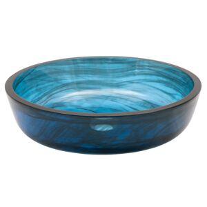 Eden Bath EB-GS80 0.5 in. Transparent Mist Flat Bottom Glass Vessel Sink, Dark Blue