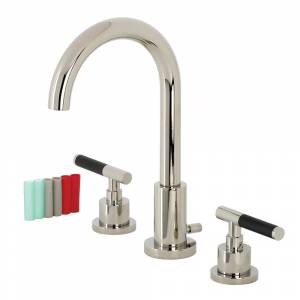 Kingston FSC8929CKL Fauceture Kaiser Widespread Bathroom Faucet with Brass Pop-Up, Polished Nickel