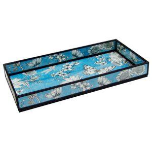 Convenience Concepts Blue Floral Print Decorative Glass Tray