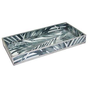 Convenience Concepts Black Leaf Print Decorative Glass Tray