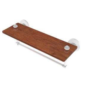 Allied SB-1TB-16-IRW-WHM 16 in. South Beach Collection Solid IPE Ironwood Shelf with Integrated Towel Bar, Matte White