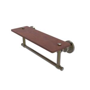 Allied WS-1TB-16-IRW-ABR 16 in. Washington Square Collection Solid IPE Ironwood Shelf with Integrated Towel Bar, Antique Brass