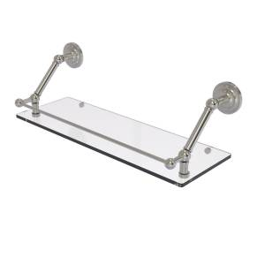 Allied PQN-1-24-GAL-SN 24 in. Prestige Que New Floating Glass Shelf with Gallery Rail, Satin Nickel