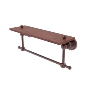 Allied AP-1TB-16-IRW-CA 16 in. Astor Place Collection Solid IPE Ironwood Shelf with Integrated Towel Bar, Antique Copper