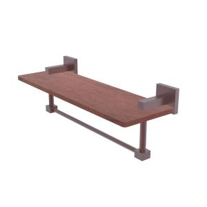 Allied MT-1TB-16-IRW-CA 16 in. Montero Collection Solid IPE Ironwood Shelf with Integrated Towel Bar, Antique Copper