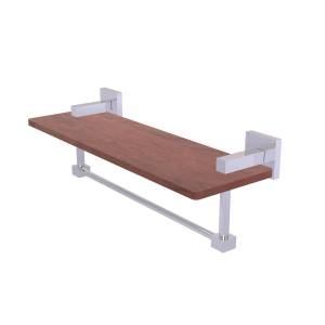 Allied MT-1TB-16-IRW-PC 16 in. Montero Collection Solid IPE Ironwood Shelf with Integrated Towel Bar, Polished Chrome