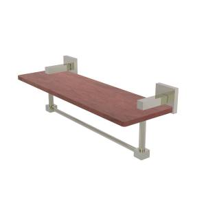 Allied MT-1TB-16-IRW-PNI 16 in. Montero Collection Solid IPE Ironwood Shelf with Integrated Towel Bar, Polished Nickel
