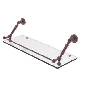 Allied WP-1-24-GAL-CA 24 in. Waverly Place Floating Glass Shelf with Gallery Rail, Antique Copper