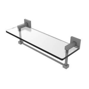 Allied MT-1-16TB-GYM 16 in. Montero Collection Glass Vanity Shelf with Integrated Towel Bar, Matte Gray