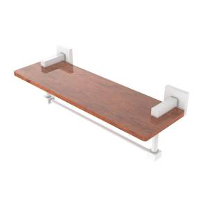 Allied MT-1TB-16-IRW-WHM 16 in. Montero Collection Solid IPE Ironwood Shelf with Integrated Towel Bar, Matte White